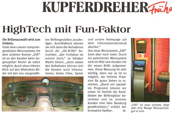 Presseartikel Frühaufsteher Ruhrkurier Eröffnung Köste